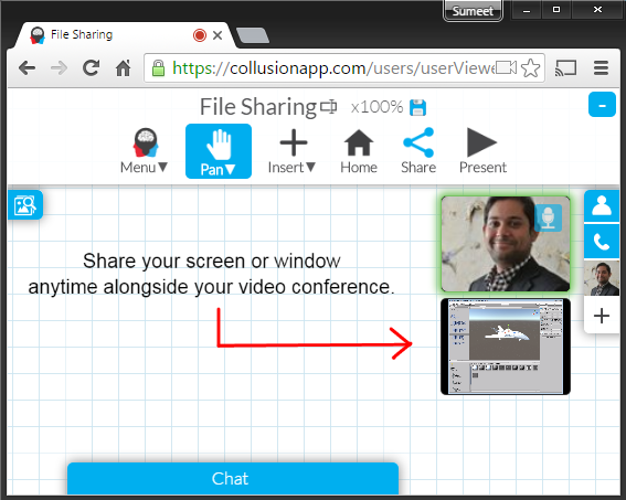 Share your window or screen with screensharing